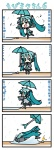 0_0 1girl 4koma >_< aqua_hair chibi chibi_miku closed_eyes comic commentary_request fallen_down hatsune_miku minami_(colorful_palette) rain spring_onion translated tripping twintails umbrella vocaloid