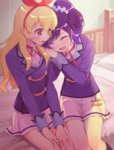 2girls :d aikatsu! bed blazer blonde_hair blue_hair blush bow closed_eyes commentary gobou_1000 hair_bow hair_ornament hair_scrunchie hairband hoshimiya_ichigo idol jacket kiriya_aoi leaning_on_person long_hair multiple_girls on_bed open_mouth red_eyes ribbon school_uniform scrunchie side_ponytail sitting sitting_on_bed skirt smile starlight_academy_uniform white_skirt