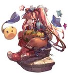 1girl bangs blunt_bangs boots commentary_request dewprism full_body hair_ornament half-closed_eyes hand_on_own_chin highres hoop jikan_hakushaku long_sleeves looking_at_viewer mint_(dewprism) monster pantyhose pumpkin red_eyes red_hair red_legwear sitting smile smug solo star thick_thighs thighs twintails weapon
