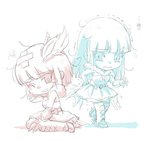 2girls bandages chibi dress flower gauntlets hair_ornament helpyourselfish long_hair melanie_malachite miltiades_malachite multiple_girls rwby short_hair siblings sisters sketch tears twins