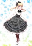 1girl black_bow black_neckwear black_skirt blonde_hair bow bowtie braid eyebrows_visible_through_hair floating_hair frilled_skirt frills full_body hair_bow iijima_yun long_hair looking_at_viewer new_game! pink_x polka_dot polka_dot_legwear pumps red_eyes shoe_bow shoes skirt smile solo striped striped_bow striped_skirt sweater twin_braids twintails white_footwear white_sweater