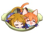 2girls :3 animal_ears bangs black_legwear blazer blonde_hair blush bow bowtie cat_ears cat_tail chibi closed_eyes drooling eyebrows eyebrows_visible_through_hair hair_between_eyes hoshizora_rin in_container kemonomimi_mode kneehighs koizumi_hanayo long_sleeves love_live!_school_idol_project lying multiple_girls neko_nabe ng_(kimjae737) on_stomach open_mouth orange_hair paw_print plaid plaid_skirt saliva school_uniform short_hair simple_background skirt sleeping smile striped striped_bow striped_bowtie swept_bangs tail white_background