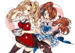 218 2girls ;p apron bangs beatrix_(granblue_fantasy) black_legwear black_skirt blonde_hair blue_apron blue_eyes blush bowl brown_hair chocolate chocolate_on_face closed_mouth collared_shirt commentary_request cream cream_on_face eyebrows_visible_through_hair food food_on_face granblue_fantasy green_eyes heart holding holding_bowl long_hair mixing_bowl multiple_girls nose_blush one_eye_closed plaid plaid_apron red_apron shirt side_ponytail skirt sleeves_rolled_up smile thighhighs tongue tongue_out twintails very_long_hair white_background white_shirt zeta_(granblue_fantasy)