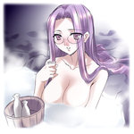 1girl alcohol blush bottle breasts fate/stay_night fate_(series) glasses large_breasts long_hair lowres purple_eyes purple_hair rider sake sake_bottle smile solo very_long_hair