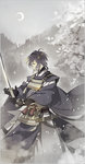 1boy black_hair blue_eyes cherry_blossoms crescent_moon highres japanese_clothes katana long_sleeves male_focus midou_(midooooooooh) mikazuki_munechika moon petals profile sayagata smile sword touken_ranbu unmoving_pattern weapon