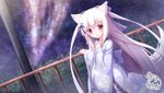 1girl :d animal_ears bell blush bow commentary_request floral_print fox_ears fox_girl fox_tail hair_bell hair_bow hair_ornament hand_up highres japanese_clothes jingle_bell kimono komiya_shirone lips long_hair long_sleeves night night_sky open_mouth original outdoors print_kimono purple_bow purple_kimono railing red_eyes ribbon-trimmed_sleeves ribbon_trim signature silver_hair sky sleeves_past_wrists smile snowflake_hair_ornament solo star_(sky) starry_sky tail thighhighs two_side_up very_long_hair white_legwear wide_sleeves
