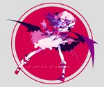 1girl amakusa_(hidorozoa) arms_up bat_wings bow character_name circle dress frilled_cuffs frilled_dress frills grey_background hand_behind_head hat hat_bow mob_cap purple_hair red_bow red_eyes red_footwear red_ribbon remilia_scarlet ribbon shoes short_hair short_sleeves simple_background socks solo touhou white_legwear wings wrist_cuffs