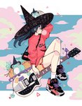 1girl blue_hair blush bubble_blowing chewing_gum cloud crisalys electric_guitar fan frog guitar hat heart highres instrument long_hair long_sleeves looking_to_the_side nike original ponytail puffy_sleeves red_shirt riding shirt shoelaces shoes shorts sidelocks sitting sneakers solo star triangle witch witch_hat