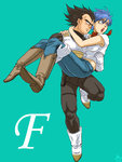 1boy 1girl black_hair blue_eyes blue_hair boots bulma carrying dragon_ball dragon_ball_z gloves husband_and_wife karasuma_rauru princess_carry short_hair spiked_hair vegeta