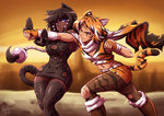 2girls :3 >:3 animal_ears belt black_hair boots breasts cleavage dark_skin dress fighting fingerless_gloves gloves highres leopard_ears leopard_tail mazume multicolored_hair multiple_girls navel orange_eyes orange_hair original scarf short_hair shorts tail tank_top thighhighs tiger_ears tiger_tail torn_clothes torn_thighhighs white_hair