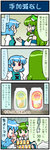 2girls 4koma alcohol artist_self-insert beer beer_can blue_hair blush comic commentary detached_sleeves frog_hair_ornament green_eyes green_hair hair_ornament heterochromia highres kochiya_sanae mizuki_hitoshi multiple_girls open_mouth real_life_insert revision shocked_eyes smile snake_hair_ornament sweat tatara_kogasa touhou translated