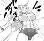 1girl abs alternate_costume breasts breasts_apart bursting_breasts buruma curvy dr.p greyscale grin gym_uniform horn hoshiguma_yuugi large_breasts long_hair monochrome muscle oni outstretched_arms pasties pointy_ears smile solo spread_arms torn_clothes touhou