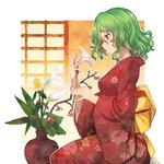 1girl commentary_request eyebrows_visible_through_hair flower green_hair holding holding_flower japanese_clothes kazami_yuuka kimono long_sleeves mixed-language_commentary profile red_eyes red_kimono short_hair sitting solo terrajin touhou wide_sleeves