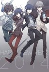 4boys black_hair blue_eyes blue_hair card devil_survivor_2 glasses grey_eyes grey_hair gun hood megami_ibunroku_devil_survivor multiple_boys narukami_yuu persona persona_3 persona_4 protagonist_(devil_survivor) protagonist_(devil_survivor_2) short_hair shrie weapon yuuki_makoto