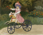 1girl amibazh arm_up bat_wings commentary dress faux_traditional_media fine_art_parody flower happy hat horse looking_at_viewer mob_cap open_mouth outdoors parody playing polearm purple_hair remilia_scarlet rocking_horse short_hair smile solo spear spear_the_gungnir touhou tricycle weapon wings younger