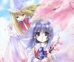 2girls angel_wings asahina ascot bad_id bangs bare_shoulders blonde_hair blue_neckwear blue_sky bow bowtie branch capelet cherry_blossoms collar detached_sleeves dress fairy frilled_ascot frilled_hair_tubes frilled_shirt_collar frills green_eyes hair_tubes hakurei_reimu hat jpeg_artifacts lily_white long_hair multiple_girls no_headwear open_mouth outdoors red_bow red_neckwear shirt short_hair sky spring_(season) tareme touhou transparent white_capelet white_collar white_dress white_hat white_sleeves wings