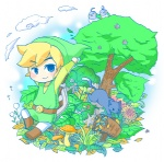 1boy bad_id bird black_eyes blonde_hair cat hat link lip_(coco) nature shield smile sword the_legend_of_zelda toon_link weapon wind_waker
