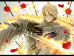 1girl blonde_hair character_request claws siraha solo sword weapon witch_craft_works