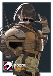 1girl australian_flag biker black_hair bulletproof_vest character_name commentary_request cosplay girls_frontline gloves gun hand_gesture headwear_removed helmet helmet_removed heterochromia highres looking_at_viewer multicolored_hair rainbow_six_siege red_eyes ro635_(girls_frontline) solo sunglasses tactical_clothes two-tone_hair weapon white_hair yellow_eyes yitiao_er-hua