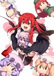 1girl bangs black_legwear black_skirt black_wings blonde_hair blue_bow blunt_bangs book bow braid crescent crescent_hair_ornament doll_hug flandre_scarlet hair_bow hair_ornament hat head_wings hong_meiling izayoi_sakuya juliet_sleeves kaiza_(rider000) koakuma long_hair long_sleeves mob_cap open_mouth patchouli_knowledge pointy_ears puffy_sleeves purple_hair red_bow red_eyes red_hair remilia_scarlet sidelocks silver_hair simple_background skirt smile solo thighhighs touhou twin_braids vest white_background wings