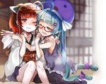 2girls ahoge bangs bare_arms bare_shoulders black_legwear blue_eyes blue_hair blurry blurry_background blush bow brown_hair commentary_request depth_of_field dress eyebrows_visible_through_hair glasses hair_bow hair_ornament hair_ribbon hairclip half-closed_eye hat head_tilt headgear japanese_clothes kimono long_hair long_sleeves multiple_girls obi one_eye_closed open_mouth otomachi_una pantyhose parted_lips purple_bow purple_dress purple_headwear purple_ribbon purple_skirt red-framed_eyewear red_eyes ribbon sailor_collar sailor_dress sash sasurai_susuki semi-rimless_eyewear sitting skirt sleeveless sleeveless_dress smile touhoku_kiritan twintails under-rim_eyewear very_long_hair voiceroid white_kimono white_neckwear white_sailor_collar wide_sleeves