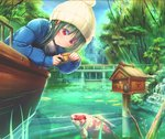 1girl abo_(kawatasyunnnosukesabu) bangs beanie blue_coat blue_nails blush boat camera commentary_request day fish green_hair hat koi lily_pad long_hair long_sleeves mailbox_(incoming_mail) nail_polish original outdoors pond red_eyes smile stone_building taking_picture tree watercraft yellow_hat
