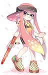 1girl backwards_hat bangs bike_shorts black_hat black_shorts blunt_bangs cherry_blossoms closed_mouth commentary domino_mask eyebrows_visible_through_hair full_body hat holding holding_weapon ink_tank_(splatoon) inkling inkling_(language) long_hair looking_at_viewer maco_spl mask multicolored multicolored_polka_dots n-zap_(splatoon) pink_eyes pink_hair pointy_ears polka_dot polka_dot_footwear shirt shoes short_sleeves shorts single_vertical_stripe smile solo splatoon splatoon_1 standing standing_on_one_leg t-shirt tentacle_hair very_long_hair visor_cap weapon white_background yellow_shirt