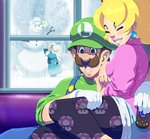 1boy 2girls black_legwear blonde_hair brown_hair chiko_(mario) child commentary commission controller couple crown earrings english_commentary facial_hair family grin happy hat hetero high_ponytail if_they_mated jewelry lipstick luigi makeup mario_(series) multiple_girls mustache pink_lips princess_peach print_legwear remote_control rosetta_(mario) sitting sitting_on_lap sitting_on_person smile snow snowman super_mario_bros. super_mario_galaxy tovio_rogers unmoving_pattern what_if window younger