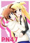 black_ribbon blonde_hair blue_eyes brown_hair fate_testarossa hair_ribbon hand_on_another's_back happy hug long_hair lyrical_nanoha mahou_shoujo_lyrical_nanoha mahou_shoujo_lyrical_nanoha_a's open_mouth red_eyes ribbon short_twintails simple_background smile sumeragi_kou takamachi_nanoha twintails white_ribbon yuri
