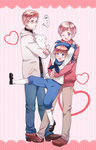 3boys axis_powers_hetalia blonde_hair blue_eyes blush dog family finland_(hetalia) full_body glasses hana-tamago hat hat_ribbon heat hirounp hood hoodie hug hug_from_behind male_focus multiple_boys open_mouth purple_eyes ribbon sailor sailor_collar sailor_hat sealand_(hetalia) smile socks sweater sweden_(hetalia) turtleneck white_legwear