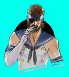 1boy beard big_boss blue_eyes brown_hair cosplay crossdressing eyepatch facial_hair headband ikuyoan kantai_collection male_focus metal_gear_(series) metal_gear_solid parody shimakaze_(kantai_collection) shimakaze_(kantai_collection)_(cosplay) solo