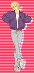 1boy barnaby_brooks_jr blonde_hair blue_jacket bomber_jacket cosplay denim hands_in_pockets jacket jeans keith_goodman keith_goodman_(cosplay) male_focus mamemo_(daifuku_mame) pants shoes sneakers solo tiger_&_bunny