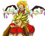 1boy 1girl blonde_hair blush bracelet broly crossover crystal dragon_ball dragon_ball_z dress earrings flandre_scarlet green_eyes happy jewelry long_hair muscle puffy_sleeves short_hair smile spiked_hair super_saiyan touhou vampire wings
