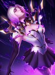 1girl breasts capelet chromatic_aberration cleavage closed_eyes commentary dark dark_elementalist_lux dissolving_clothes elbow_gloves elementalist_lux gloves highres league_of_legends light light_elementalist_lux luxanna_crownguard magic medium_breasts skirt tagme transformation white_hair zarory