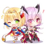 ! 2girls :o ;d animal_ears arm_up bare_shoulders black_footwear black_legwear blonde_hair blue_footwear blue_gloves blush bow breasts bridal_gauntlets cape chibi cleavage commentary_request demon_horns dress elbow_gloves gloves green_eyes hair_bow hair_intakes hair_ornament holding_hands horns large_breasts long_hair looking_at_viewer multiple_girls navel one_eye_closed open_mouth oskulolu outstretched_arm parted_lips purple_eyes purple_hair red_bow shironeko_project shoes single_thighhigh smile soara_(shironeko_project) standing standing_on_one_leg striped striped_bow thighhighs twitter_username upper_teeth white_background white_cape white_dress white_legwear yukiyuki_441