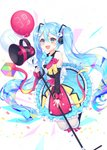 1girl 39 :d absurdres ahoge balloon bangs bare_shoulders black_legwear blue_bow blue_eyes blue_skirt blush bow commentary_request detached_sleeves eyebrows_visible_through_hair hair_between_eyes hair_bow hair_ornament hatsune_miku highres holding long_sleeves looking_at_viewer megaphone open_mouth over-kneehighs pink_bow puffy_long_sleeves puffy_sleeves reel37891 shirt skirt sleeveless sleeveless_shirt sleeves_past_wrists smile solo thighhighs upper_teeth vocaloid white_bow white_shirt yellow_bow