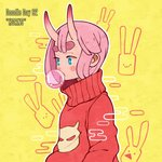 1girl aqua_eyes bangs blush bubble_blowing english_text hanaan horns medium_hair oni_horns original outline pink_hair print_sweater red_sweater solo sweater transparent turtleneck turtleneck_sweater white_outline yellow_background