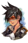 1girl bomber_jacket brown_hair brown_jacket closed_mouth ear_piercing face goggles green_eyes hankuri harness jacket leather overwatch piercing pink_lips short_hair simple_background smile solo spiked_hair tracer_(overwatch) upper_body