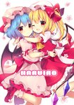 2girls ;d absurdres arm_ribbon ascot bangs bat_wings blonde_hair blue_hair blush bobby_socks bow commentary_request crystal dress eyebrows_visible_through_hair fang feet_out_of_frame flandre_scarlet flower hair_between_eyes hat hat_bow hat_ribbon highres hug leg_up long_hair looking_at_viewer mob_cap multiple_girls one_eye_closed one_side_up open_mouth petticoat pink_dress pink_flower pink_headwear pink_legwear puffy_short_sleeves puffy_sleeves red_bow red_eyes red_footwear red_neckwear red_ribbon red_skirt red_vest remilia_scarlet ribbon ruhika shirt shoes short_hair short_sleeves siblings simple_background sisters skirt smile socks touhou vest white_background white_headwear white_shirt wings wrist_cuffs yellow_neckwear