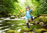 1girl artist_name black_footwear blue_shirt boots brown_eyes brown_hair child commentary dated day english_commentary flag flat_cap forest hand_up hat hataraku_saibou holding holding_flag lilia_creative long_hair looking_at_viewer moss nature open_mouth outdoors platelet_(hataraku_saibou) rock rubber_boots shirt short_sleeves shorts signature smile solo standing standing_on_one_leg stream sunlight very_long_hair water white_headwear