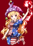 1girl american_flag_dress american_flag_legwear arm_up blonde_hair blue_legwear clownpiece eyebrows_visible_through_hair full_body hat highres jester_cap long_hair looking_at_viewer neck_ruff polka_dot polka_dot_hat purple_eyes purple_headwear red_background ruu_(tksymkw) short_sleeves simple_background solo star star_print striped striped_legwear touhou