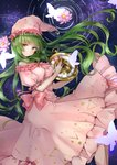 1girl bare_shoulders bow breasts bug butterfly closed_mouth constellation_print crescent dress expressionless eyebrows_visible_through_hair floating_hair flower frilled_dress frills glowing_butterfly green_eyes green_hair hat head_tilt highres holding insect kazami_yuuka kazami_yuuka_(pc-98) lily_pad long_hair medium_breasts night night_sky nightcap nightgown pink_bow pink_dress pink_flower pink_headwear pocket_watch puffy_short_sleeves puffy_sleeves ripples shironeko_yuuki short_sleeves sky solo star star_(sky) star_print starry_sky touhou touhou_(pc-98) very_long_hair watch