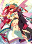 2girls aqua_eyes asymmetrical_wings bare_shoulders barefoot chaos_venus_(p&d) dress dual_persona feathered_wings hair_tubes heart long_hair multicolored_hair multiple_girls mzh open_mouth purple_hair puzzle_&_dragons red_hair smile tiara two-tone_hair two_side_up venus_(p&d) wings