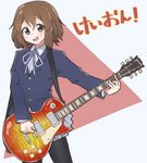 1girl absurdres blue_jacket blue_neckwear blue_ribbon blush brown_eyes brown_hair commentary_request eyebrows_visible_through_hair grey_skirt guitar hair_between_eyes hair_ornament hairclip highres hirasawa_yui holding instrument jacket jipponwazaari k-on! long_sleeves looking_at_viewer pantyhose red_background ribbon school_uniform short_hair simple_background skirt solo translated two-tone_background upper_teeth white_background