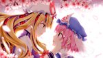 2girls backlighting bangs blonde_hair blue_bow blue_hat blurry blush bow bowtie cherry_blossoms closed_mouth commentary_request depth_of_field eye_contact eyeball eyebrows_visible_through_hair eyes frilled_shirt_collar frills from_side gap glowing hair_bow hand_in_another's_hair hand_on_another's_cheek hand_on_another's_face hand_up hat hat_ribbon highres juliet_sleeves long_hair long_sleeves looking_at_another low-tied_long_hair mob_cap multiple_girls open_mouth petals pink_eyes pink_hair profile puffy_sleeves red_bow red_eyes red_ribbon ribbon saigyouji_yuyuko see-through short_hair sidelocks signature smile staring tabard touhou triangular_headpiece upper_body veil vh(yuv-achi) wallpaper white_hat wide_sleeves yakumo_yukari yellow_eyes yuri