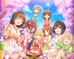 6+girls :d :o ahoge anastasia_(idolmaster) barefoot black_hair blanket blonde_hair blue_eyes blush bottle bow bowtie brown_eyes brown_hair cherry_blossoms choker chopsticks closed_eyes clothes_writing cloud commentary_request covering_mouth cup disposable_cup dress earrings eyebrows_visible_through_hair floral_print food frilled_sleeves frills futaba_anzu grass green_eyes hair_bow hair_ornament hairband hairclip half_updo hand_over_own_mouth high-waist_skirt highres holding holding_chopsticks holding_cup holding_plate hood hoodie idolmaster idolmaster_cinderella_girls igarashi_kyouko jewelry kneehighs kohinata_miho long_hair long_sleeves low_twintails multiple_girls necklace obentou one_side_up open_clothes open_hoodie open_mouth outdoors pantyhose partial_commentary petals picnic pink_hairband plate ponytail sakuma_mayu sakurai_momoka seiza shimamura_uzuki shirt short_hair shorts side_ponytail signature silver_hair sitting skirt sky smile stud_earrings stuffed_animal stuffed_bunny stuffed_toy sun sunlight sweater sweater_dress t-shirt teacup teddy_bear tree twintails u_rin wariza wavy_hair yorita_yoshino