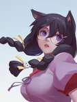 1girl animal_ears bei_ju_luoxuan_wan black_hair braid breasts cat_ears commentary_request glasses hair_ornament hairclip hanekawa_tsubasa large_breasts long_hair monogatari_(series) open_mouth purple_eyes school_uniform solo twin_braids