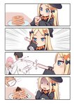 1boy 2girls 4koma :d ^_^ abigail_williams_(fate/grand_order) anger_vein bangs black_bow black_dress black_hair black_headwear blonde_hair blue_eyes blush bow bubble_tea chaldea_uniform closed_eyes collared_dress comic commentary_request cup disposable_cup dress drinking_straw emphasis_lines eyebrows_visible_through_hair fate/grand_order fate_(series) food forehead fujimaru_ritsuka_(male) glasses hair_bow hair_over_one_eye hands_up hat highres holding holding_cup jacket long_hair long_sleeves mash_kyrielight multiple_bows multiple_girls multiple_hair_bows open_clothes open_jacket open_mouth orange_bow pancake parted_bangs pink_hair plate polka_dot polka_dot_bow red_neckwear shimokirin silent_comic sleeves_past_fingers sleeves_past_wrists smile solid_oval_eyes stack_of_pancakes teardrop trembling turn_pale uniform white_jacket