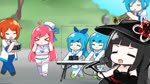 2boys 4girls >_< ahoge animated audible_music audible_speech black_dress black_hair blue_hair bow breasts chibi cleavage closed_eyes closed_mouth commentary covering_ears dress h2o_rutorinde hat holding_microphone_stand instrument instrument_request keyboard_(instrument) kneehighs long_hair meme microphone microphone_stand midriff mp4 multiple_boys multiple_girls music mysterieux_rouge navel near_(sound_voltex) noah_(sound_voltex) open_mouth orange_hair pink_hair playing_instrument rasis sailor_collar sailor_dress sailor_hat short_hair smile sound_voltex stomach thick_eyebrows tree trumpet trumpet_boy tsumabuki_left tsumabuki_right v-shaped_eyebrows video_with_sound