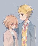 1boy 1girl blonde_hair blue_background blue_jacket blush bow brown_hair coat commentary glasses hand_on_another's_head highres jacket kanbara_akihito kuriyama_mirai kyoukai_no_kanata looking_at_another looking_to_the_side necktie open_mouth red-framed_eyewear red_neckwear school_uniform shirt short_hair simple_background smile standing uniform upper_body waistcoat white_shirt yellow_eyes yue_jiu